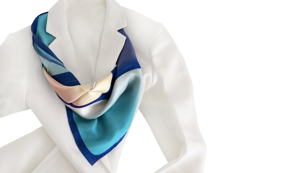 Otta Exclusive Silk Scarf Volto in Indigo