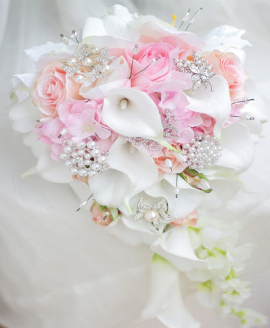 Cascading Real Touch Calla Lilies Silk Hydrangeas Brooch Bouquet SILK- 005