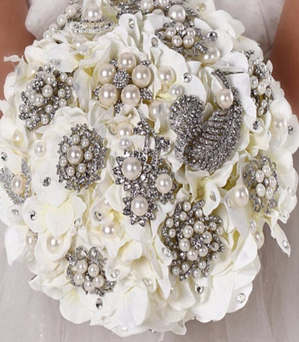 Silk Hydrangeas Brooch Bouquet SILK- 013