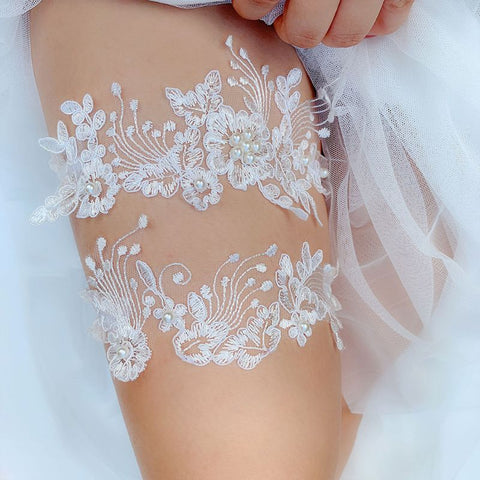 2pcs Wedding Bridal Lace Embroidery Garter Set ~ 003G