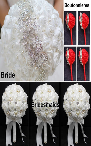 10pcs Satin Rose Brooch Bouquet PACK- 002