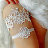 Black 2pcs Wedding Bridal Lace Embroidery Garter Set ~ 004G