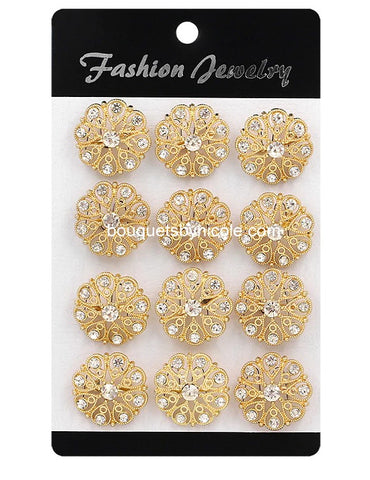 12pcs. Gold Rhinestone Brooches Lots BR-220G