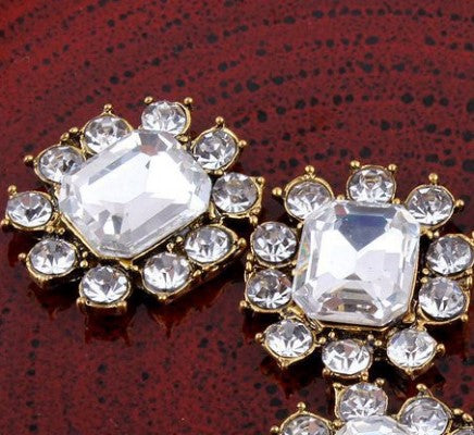 Silver or Gold Rhinestone Flatback Buttons BR-206