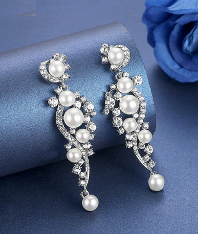 MEC-006 Crystal Pearls Long Drop Earrings Bridal Wedding Jewelry