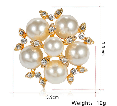 Gold Brooch Silver and Pearl  Pin Rhinestone Crystal BR-962