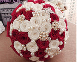 TRUDY~EMR Red and White Satin Rose Brooch Bouquet or DIY KIT