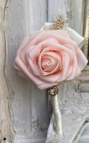 Real Touch Rose Boutonnières Pin Formal Wear Wedding Prom RT-B51