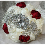 Satin Roses Customized Brooch Bouquet EMR-044