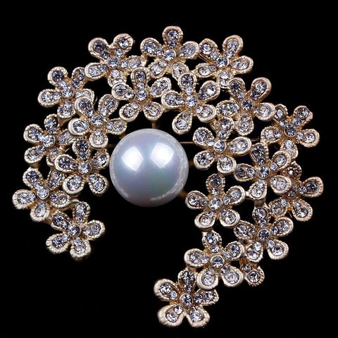 Gold / Silver Brooch Clear Rhinestone Crystal BR-296