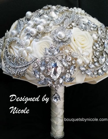 GRACE ~ Satin Roses Brooch Bouquet or DIY KIT