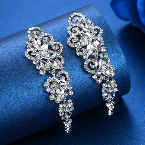 MEC-002 Crystal Long Drop Earrings Bridal Wedding