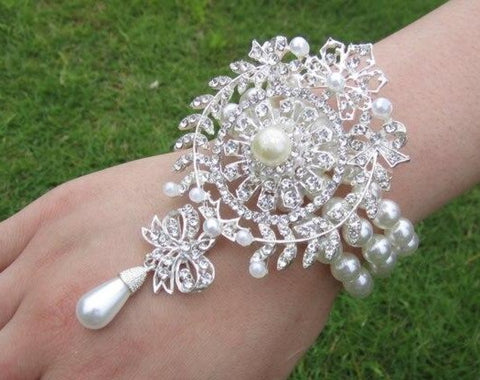 COR-006 Pearl Brooch Wrist Corsage l Silver l Gold l Prom l Formal l Mothers l Grandmothers