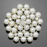 Pearls and Crystal Brooch Gold BR-101