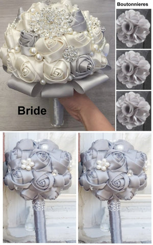 10pcs Satin Rose Brooch Bouquet PACK- 006