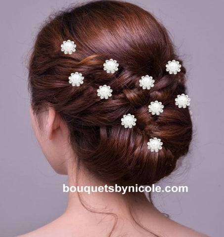 10pcs Pearl Flower Rhinestone Hair pins BR-046
