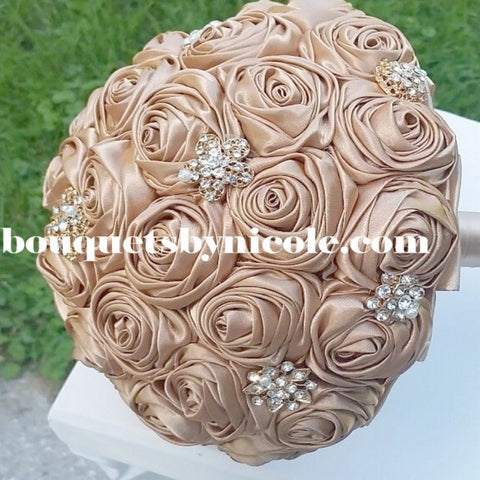JOY~EMR Satin Rose Brooch Bouquet or DIY KIT