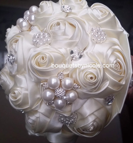 KADY~EMR Ivory Satin Communion Brooch Bouquet or DIY KIT