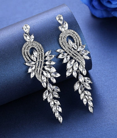 MEC-009 Crystal Pearls Long Drop Earrings Bridal Wedding Jewelry