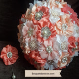 Fabric Flower Boutonniere, Lapel Pin Formal Wear Wedding Prom BOUT-SADIE