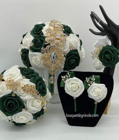 Ivory Emerald Real Touch Roses Brooch Bouquet