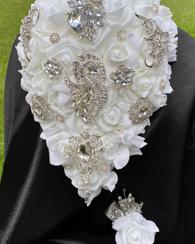 CAMILLA ~ White Real Touch Roses Brooch Bouquet