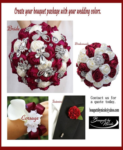 PACK01~ Build Your Bouquet Package Satin Roses Bouquet