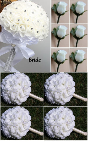 10pcs Real Touch & Silk Flowers Brooch Bouquet PACK- 019