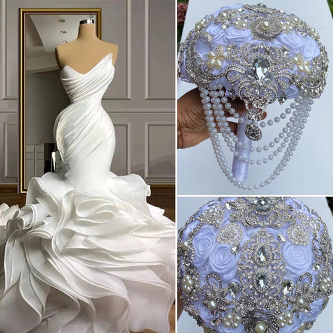 GAYLA~ Cascading Waterfall Satin Rose Brooch Bouquet