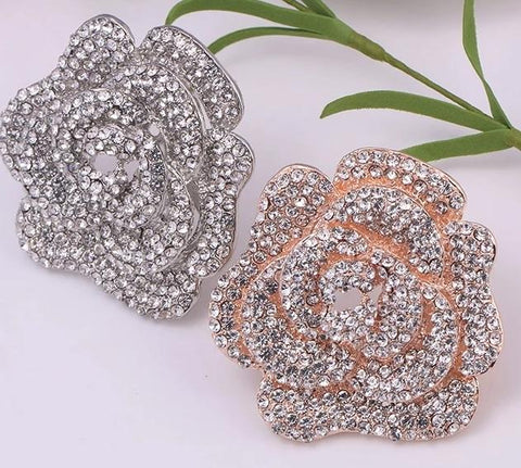 Rose Gold / Silver Brooch Clear Rhinestone Crystal BR-297