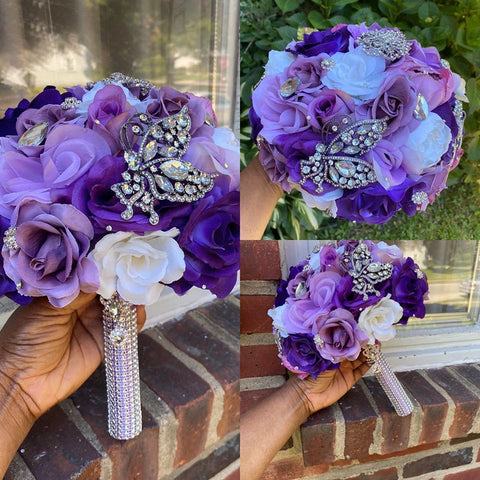 AJA ~ Purple Lavender Mauve Silk Roses Customized Brooch Bouquet SILK