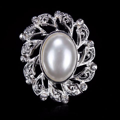 Brooch Pearl and Silver Pendant Pin Rhinestone Crystal BR-969