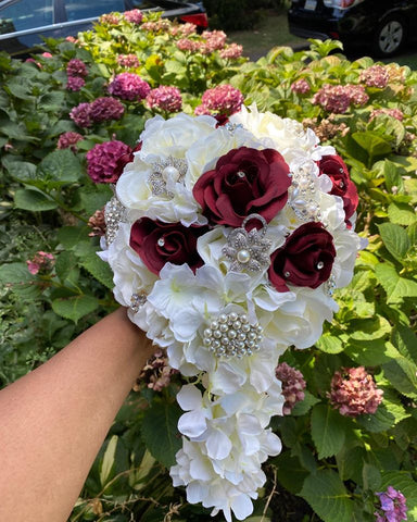 BELLA~ White and Burgundy Wedding Silk Roses Brooch Bouquet