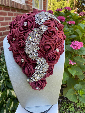 JANAI ~ Burgundy Cascade Real Touch Roses Brooch Bouquet