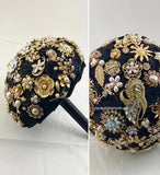 GEMMA ~ Black Gold Satin Roses Brooch Bouquet or DIY KIT