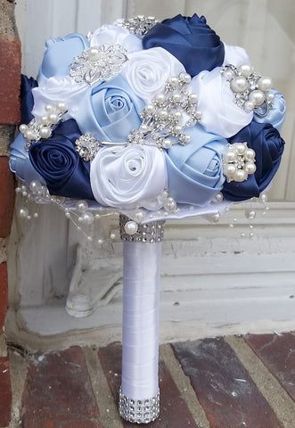 Satin Rose Brooch Bouquet EMR-RENE