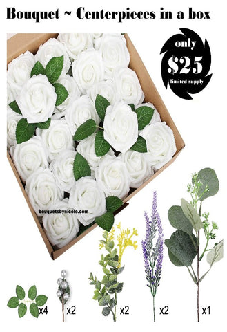 36pcs. White Roses in a box Centerpieces or Bouquets DIY KIT