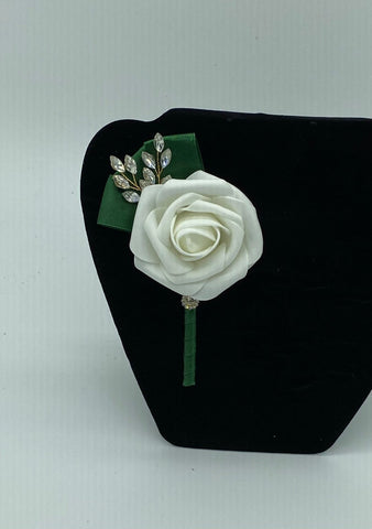 Emerald Green & Ivory Real Touch Rose Boutonnières Pin Formal Wear Wedding Prom RT-B012