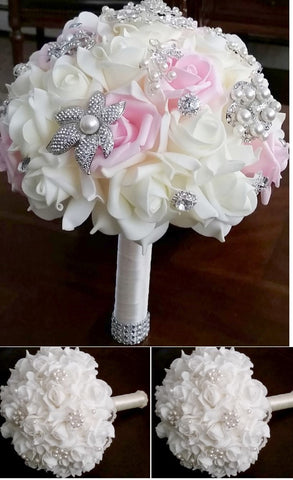 17pcs. Real Touch Roses Brooch Bouquet PACK- 033