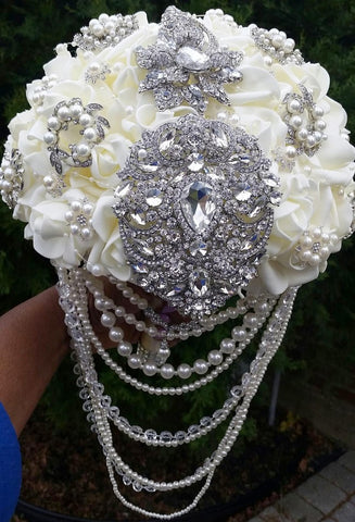 LEXI~LUX Gatsby Cascading Real Touch Rose Brooch Bouquet or  DIY KIT