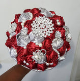 GAIL~EMR Ivory, Silver Gray Satin Rose Brooch Bouquet or DIY KIT