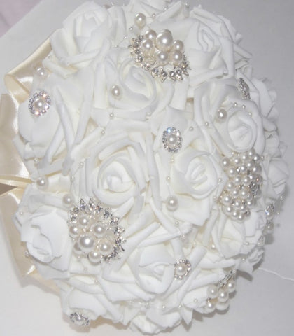 AUBREY~Realt-Real Touch Rose Brooch Bouquet or DIY KIT