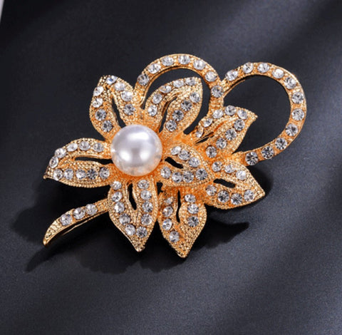 Silver Brooch Pearls & Crystal Wedding Fashion Jewelry BR-009