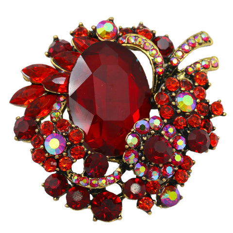 Brooch  Large Ruby Red Pendant Pin Rhinestone Crystal BR-996