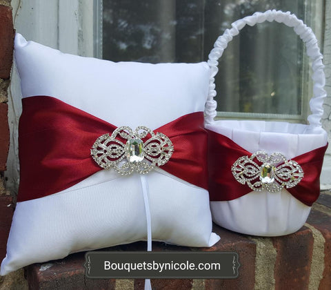Customized Brooch Wedding Ring Pillow Flower Girl Basket Guest book Pen Set CBP- 009