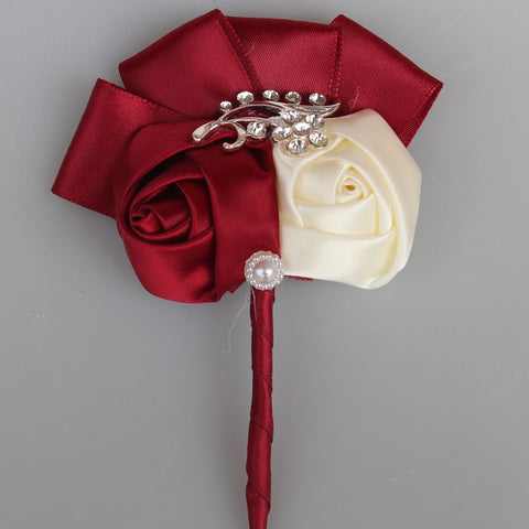 Fabric Flower Boutonniere, Lapel Pin Formal Wear Wedding Prom BOUT- 500