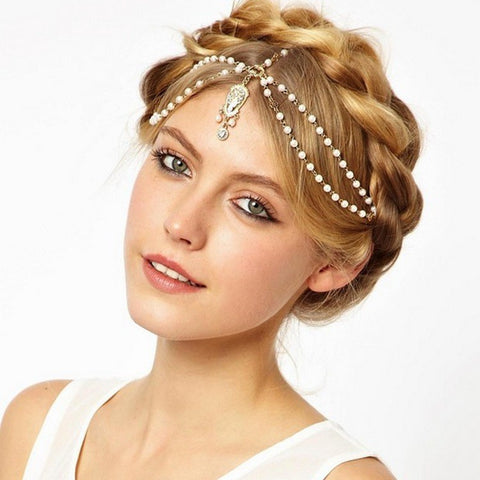 Bridal Boho Hair decoration l hair band l head dress l headbands fashion l Ivory and Gold beaded head piece l head chain hair jewelry