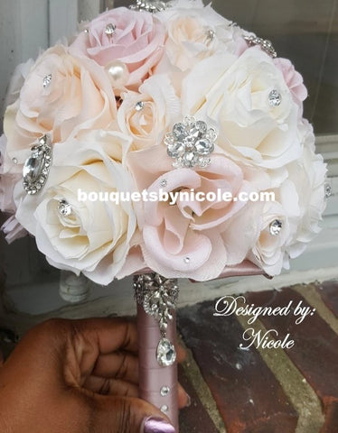 BLUSH -  Ivory Light Pink Silk Roses Brooch Bouquet