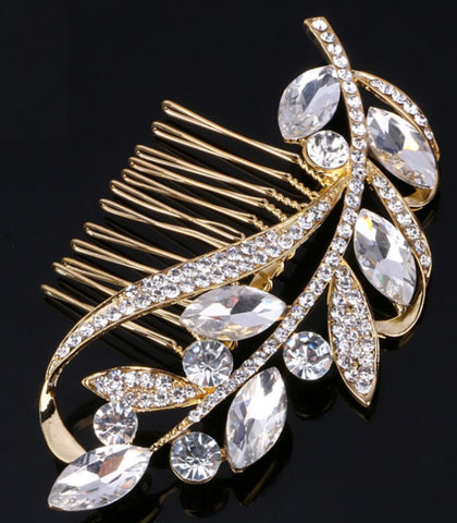 Gold Bridal Hair Brooch Rhinestone HBR-004