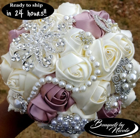 Ivory Mauve Satin Rose Brooch Bouquet 24HR- PEARLIE